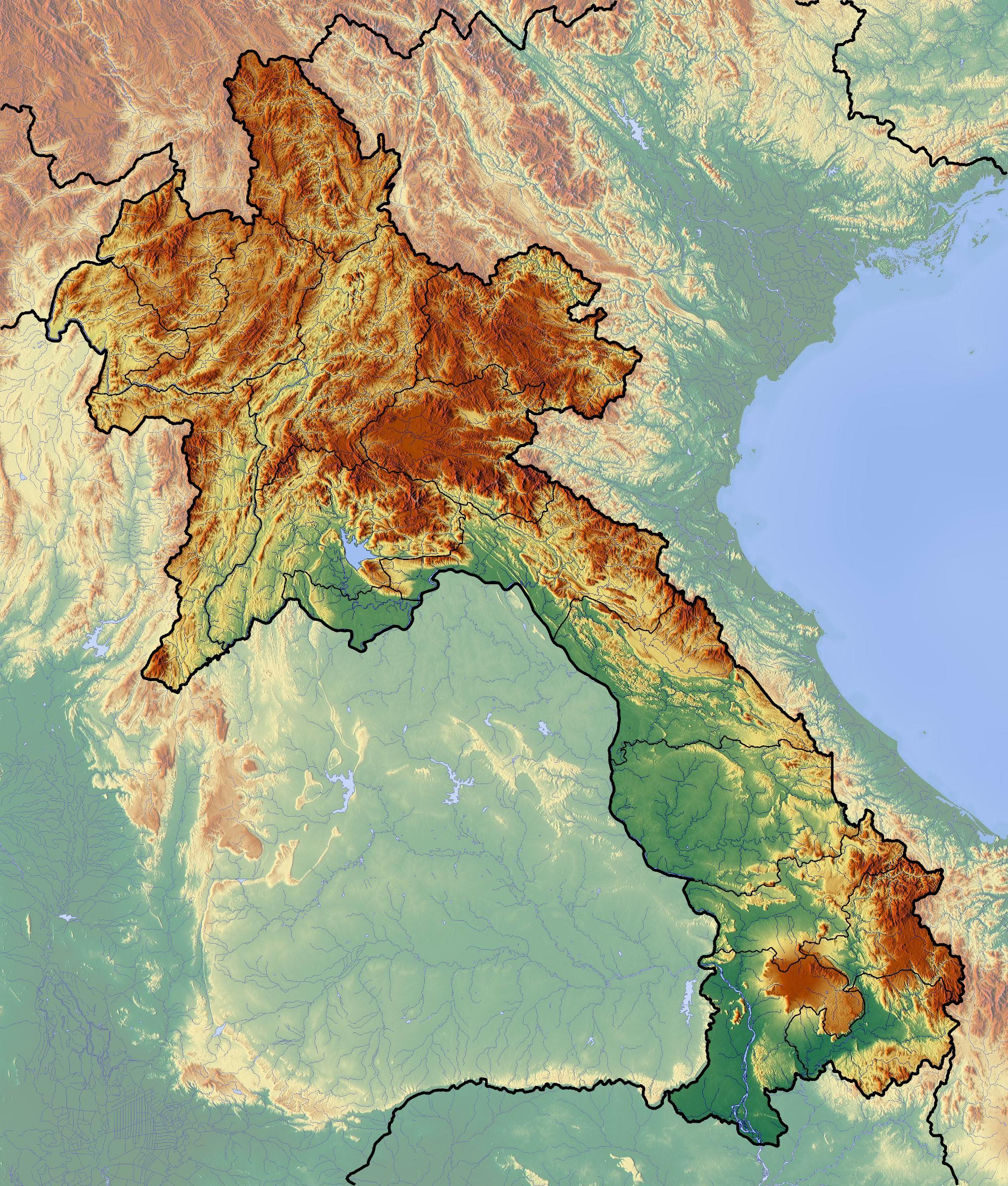 Laos Topografisk Kort Kort Over Laos Topografisk Syd Ostlige