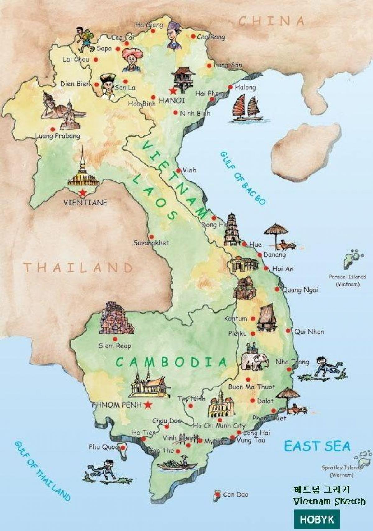 Turist Kort Laos Laos Attraktioner Kort Syd Ostlige Asien Asien